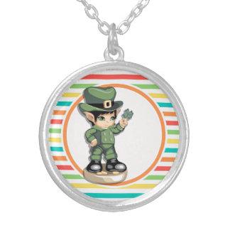 Cute Leprechaun on Bright Rainbow Stripes Jewelry