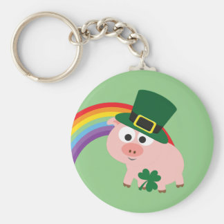 Cute Leprechaun Pig Basic Round Button Key Ring