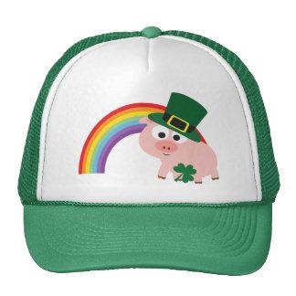 Cute Leprechaun Pig Trucker Hat