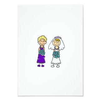 """Cute Lesbian Brides 5"""" X 7"""" Invitation Card"""