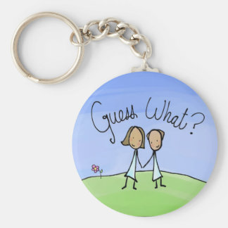Cute Lesbian Couple Guess What Basic Round Button Key Ring