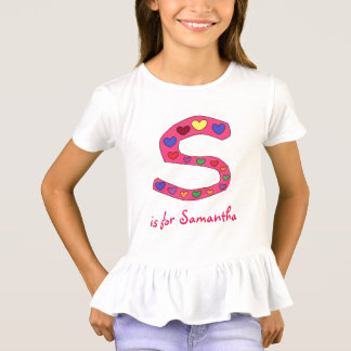 Cute Letter S Design Personalized Girl's Name T-Shirt