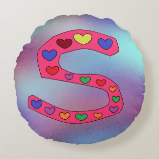 Cute Letter S Design Personalized Reversible Round Cushion