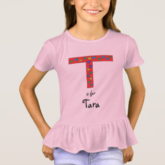 Cute Letter T Design Personalized Girls Name T-Shirt
