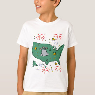 Cute Liberty Bell and Fireworks Kids Tees