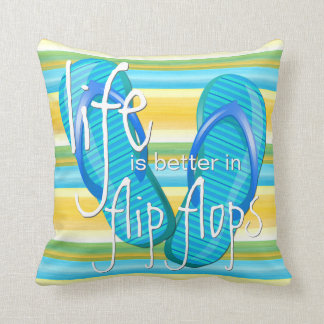 Cute Life Is Better In Flipflops Stripes Pattern Cushion