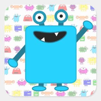 Cute Light Blue Cartoon Monster Square Sticker