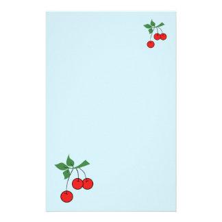 Cute Light Blue Cherry Retro Art Cherries Graphic Stationery