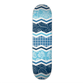 Cute Light & Dark Blue Patterns Custom Skateboard