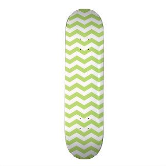 Cute Light Lime Green Chevron Stripes Skateboard