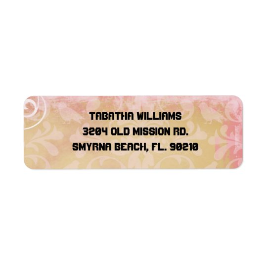Cute Light Pink Damask Pattern Return Address Labe Return Address Label