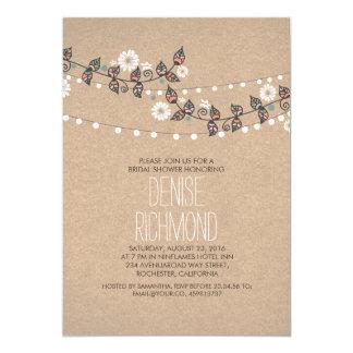 Cute Light Strings Floral Rustic Bridal Shower 5x7 Paper Invitation Card