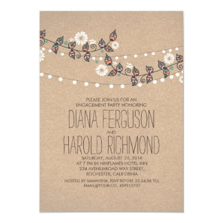 Cute Light Strings Floral Rustic Engagement Party 13 Cm X 18 Cm Invitation Card