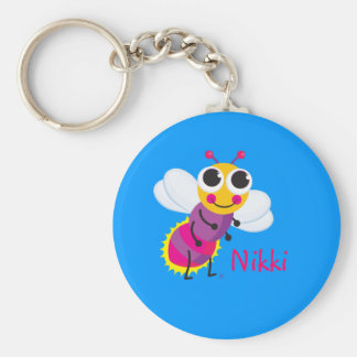 Cute Lightning Bug Basic Round Button Key Ring