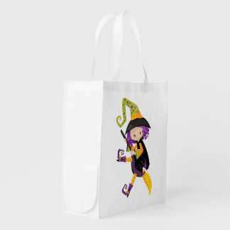 Cute Lil Witch With Purple Hair on A Broomstick Reusable Grocery Bag