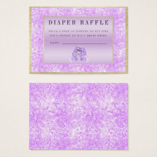 "Cute Lilac Bunny ""Raffle"" Baby Shower Business Card"