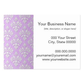 Cute Lilac Lavender and White Damask Pack Of Chubby Business Cards
