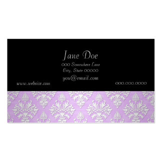 Cute Lilac Lavender and White Damask Business Card Template