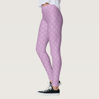 Cute LILAC LIGHT PURPLE mermaid scales leggings