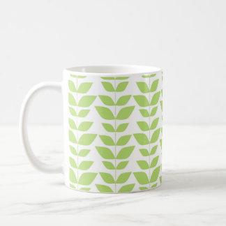 Cute Lime Green and White Leaf Pattern Classic White Coffee Mug