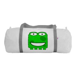 Cute Lime Green Cartoon Monster Gym Duffel Bag