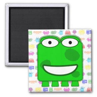 Cute Lime Green Cartoon Monster Refrigerator Magnet