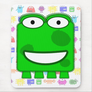 Cute Lime Green Cartoon Monster Mouse Pad