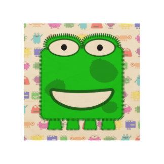 Cute Lime Green Cartoon Monster Wood Prints