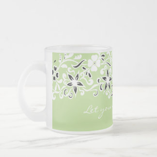 Cute lime green floral pattern frosted glass coffee mug