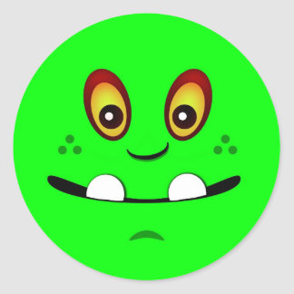 Cute Lime Green Monster Face w/ an Underbite Round Sticker