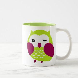Cute lime green owl Two-Tone coffee mug