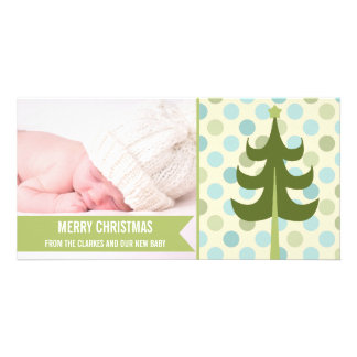 Cute Lime Stripe Baby First Christmas Photo Card
