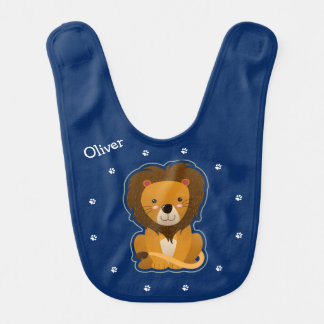 Cute Lion and Pawprints Personalized Bib