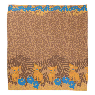 Cute lion cartoon and flowers leopard pattern bandanas
