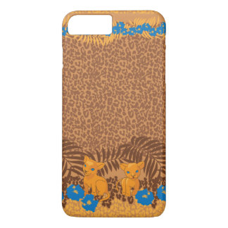 Cute lion cartoon and flowers leopard pattern iPhone 8 plus/7 plus case