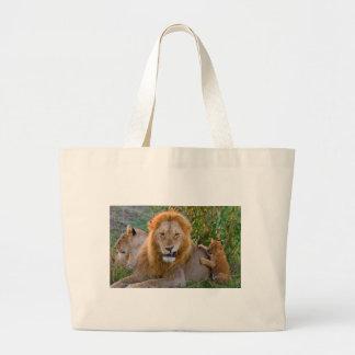 Cute Lion Cub Playing With Dad, Kenya Large Tote Bag