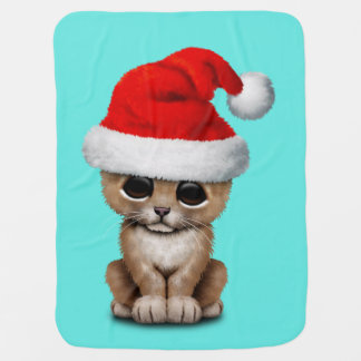 Cute Lion Cub Wearing a Santa Hat Baby Blanket