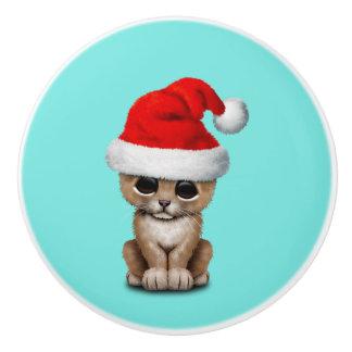 Cute Lion Cub Wearing a Santa Hat Ceramic Knob
