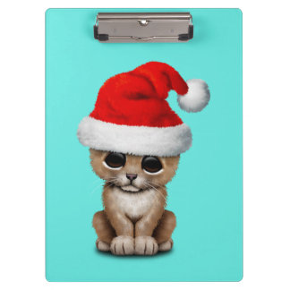 Cute Lion Cub Wearing a Santa Hat Clipboard
