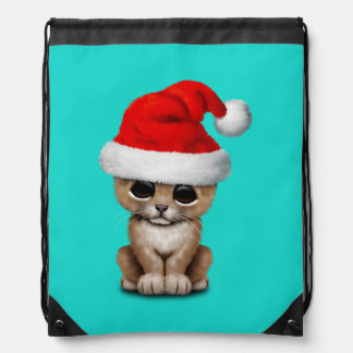 Cute Lion Cub Wearing a Santa Hat Drawstring Bag