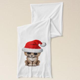 Cute Lion Cub Wearing a Santa Hat Scarf