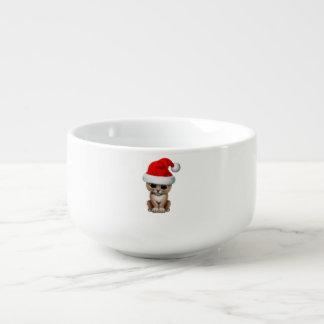 Cute Lion Cub Wearing a Santa Hat Soup Mug