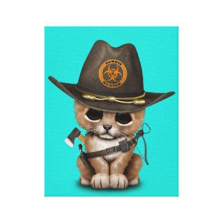 Cute Lion Cub Zombie Hunter Canvas Print