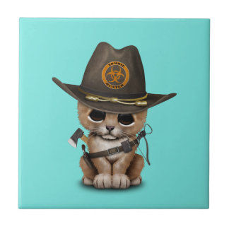 Cute Lion Cub Zombie Hunter Tile