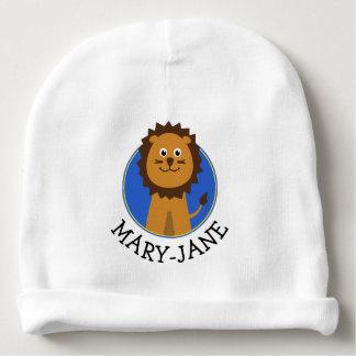 Cute lion custom name baby beanie
