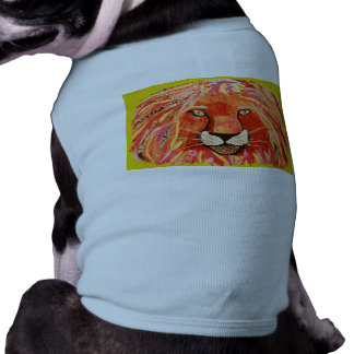 Cute Lion Design on Doggie Ribbed Tank Top Sleeveless Dog Shirt