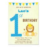 Cute Lion First Birthday Invitation