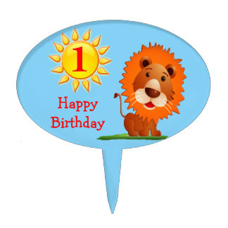 Cute Lion Happy 1st Birthday Cake Toppers for Boys