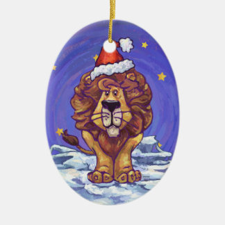 Cute Lion Holiday Ceramic Ornament