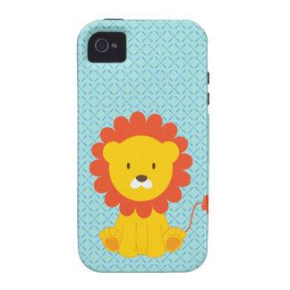 Cute Lion on Blue iPhone 4 Case